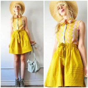 Anthro mustard yellow bow skirt Odille pintuck